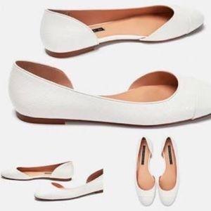 Zara White Flats